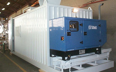 Insulated mobile workshop-container complete equipped with machines and tools. RAC-Germany.