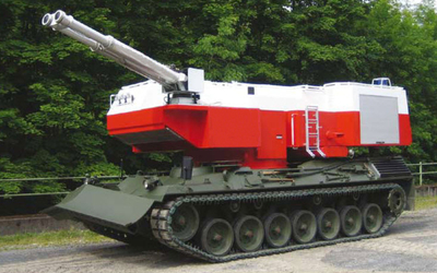 The Fire Commander is a tracked fire fighting vehicle. RAC-Germany.