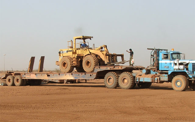View of oilfield semi-trailer, custom-made in Germany in action in Africa